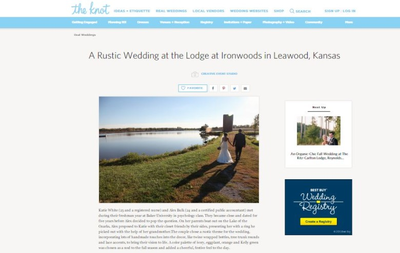 Alex & Katie's Lodge at Ironwoods Rustic Wedding Featured on TheKnot.com {In The Press}
