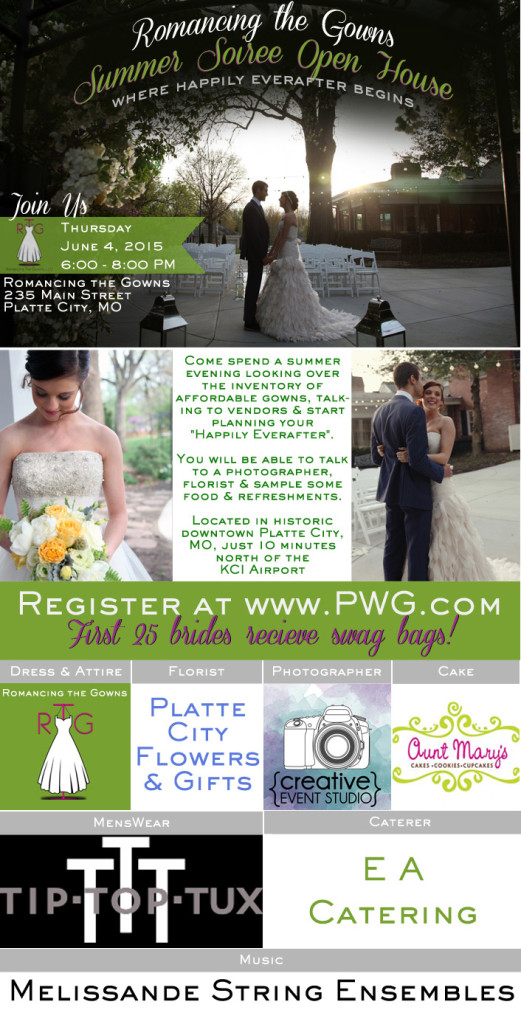 Join us at the Summer Soiree Open House hosted by Romancing the Gowns!