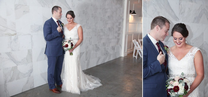 Classic Bridal Wedding Portrait at 28 Event Space in Kansas City MO Doctor Groom Navy Suit Marble Wall Photography by Sarah and Ginger Photography