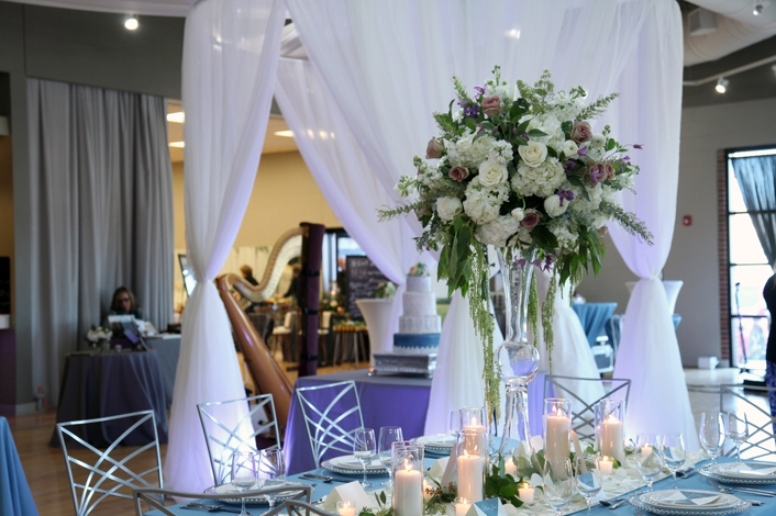 Overland Park Ballroom Pretty and Planned Bella Chic Floral Sarah and Ginger Photography Wedding Styled Shoot Elegant Candle Table set up