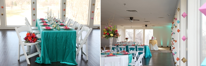 Tablescape Teal Aqua satin with coral orange and pink white folding chairs wood floors country club view Deer Creek Golf Club Sarah & Ginger Photography
