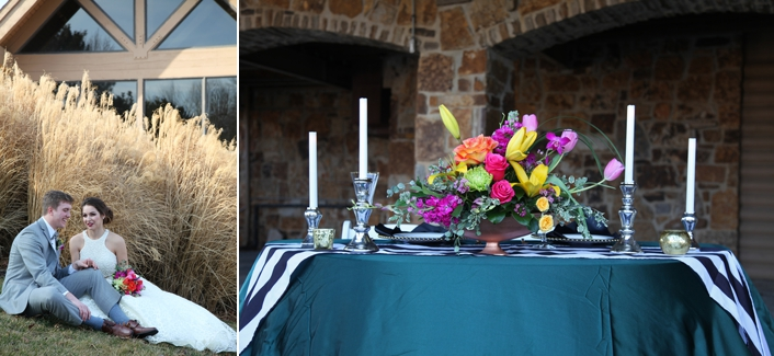 Emerald Green Satin Tablecloth Black and White Runner Jewel Tone Flowers Candlesticks Deer Creek Golf Club Sarah Ginger Photography Weddings