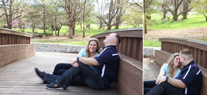 Kansas City Bridge Pose Engagement Session Loose Park Rose Garden KC