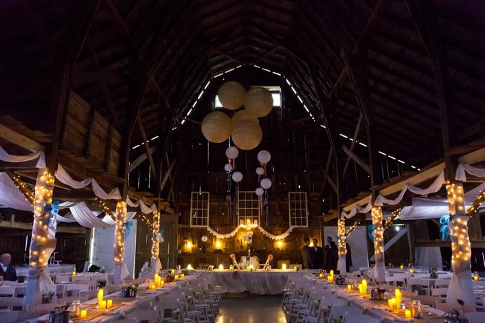 DIY Barn Wedding Reception White Fabric DIY Rustic Decor Burlap Paper Lanterns