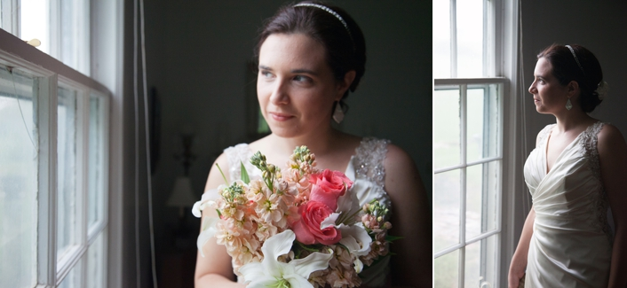 Bridal Portrait Indoors next to a window on a rainy day, long satin dress, pink coral green bouquet DIY wedding make up, private estate wedding Leavenworth KS Weston MO Sarah and Ginger Wedding Photography Kansas City MO