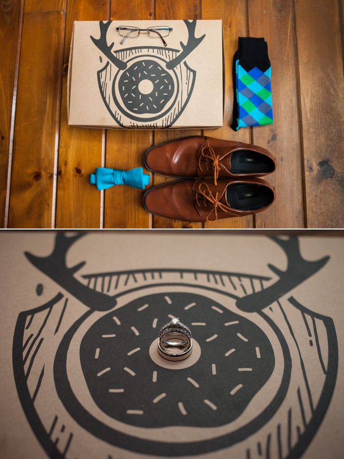 Grooms Details Bow Tie, Leather Shoes, Blue Aqua Green Tie, Doughnut Lounge Box from Westport Kansas City, MO, Ring Detail Photo on Doughnut Lounge Box