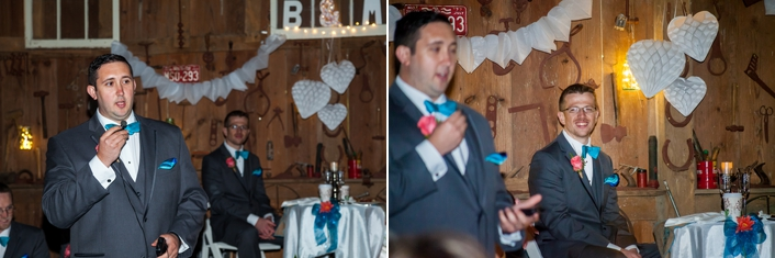 Rained out wedding moved inside of a barn, rustic wedding decor, DIY burlap paper lanterns tin can centerpieces blue