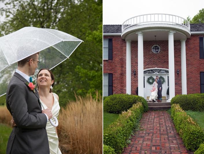 Outdoor rainy day wedding photos clear umbrella Leavenworth Kansas Weston Mo Kansas City MO Wedding Photography Sarah and Ginger Photography The Knot Best of Weddings Winner