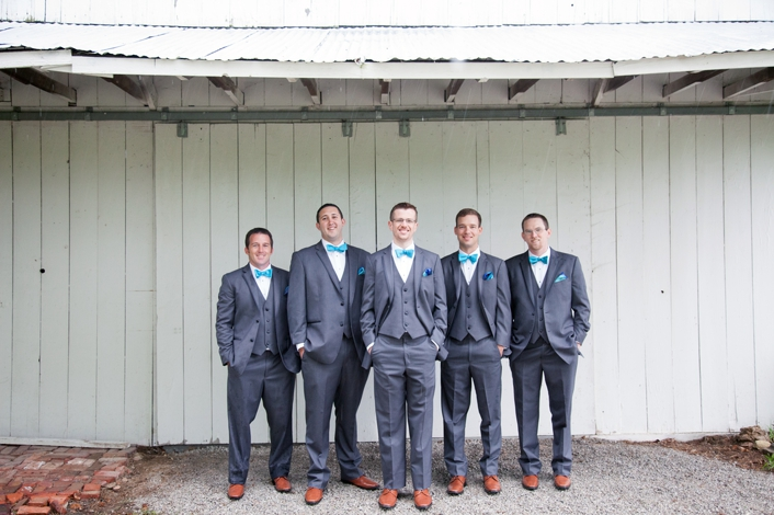 Outdoor Groom Photos Barn Wedding Private Estate Grey Suits Blue Vests Blue Bowties Leavenworth Kansas Sarah and Ginger Photography Creative Event Studio Wedding Photography Kansas City MO