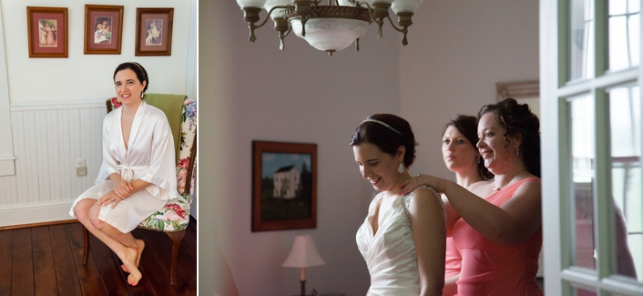 Bride getting ready at a private Leavenworth Kansas Estate Bride and Bridesmaids putting on dresses before the wedding