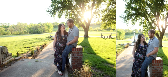 Belvior Winery, Liberty MO Engagement Session, Spring Sunset