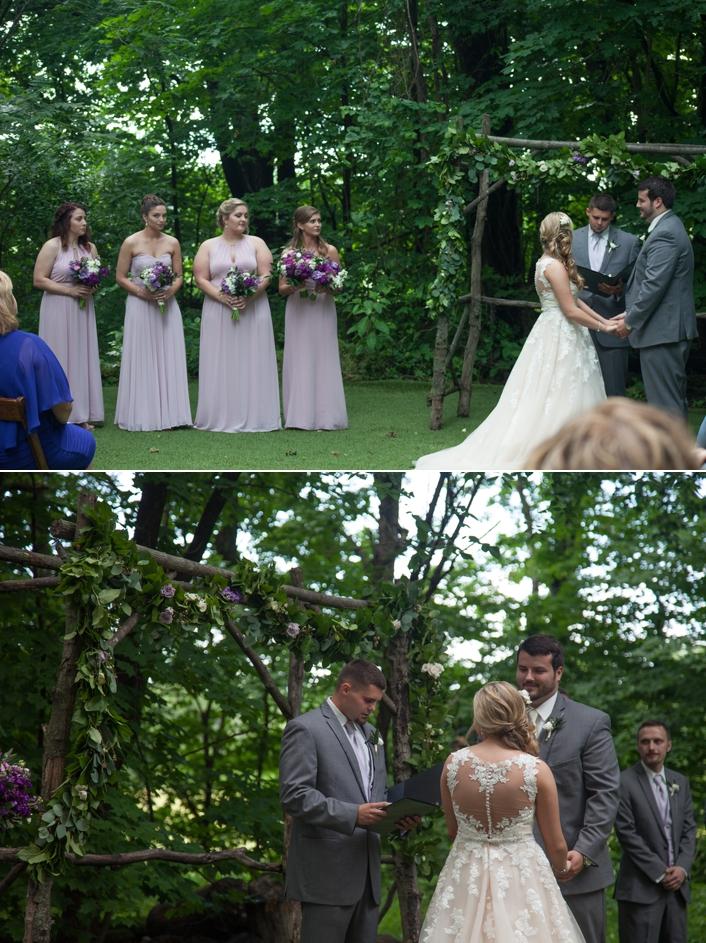 Outdoor wedding ceremony May Wedding Schwinn Produce Farm Leavenworth, KS Sarah and Ginger Photography long bridesmaid dresses