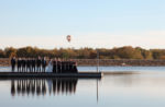 Overland Park, KS Wedding Photography hot air balloon long purple bridesmaids dresses lake dock