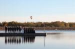 Overland Park, KS Wedding Photography hot air balloon long purple bridesmaids dresses lake dock