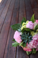 pink rose garden succulent wedding bridal bouquet
