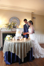 kansas city wedding photography cake cutting sweet reverie custom cake company navy gold